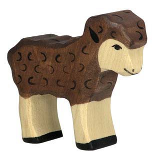 Holztiger Holzfigur Lamm, schwarz