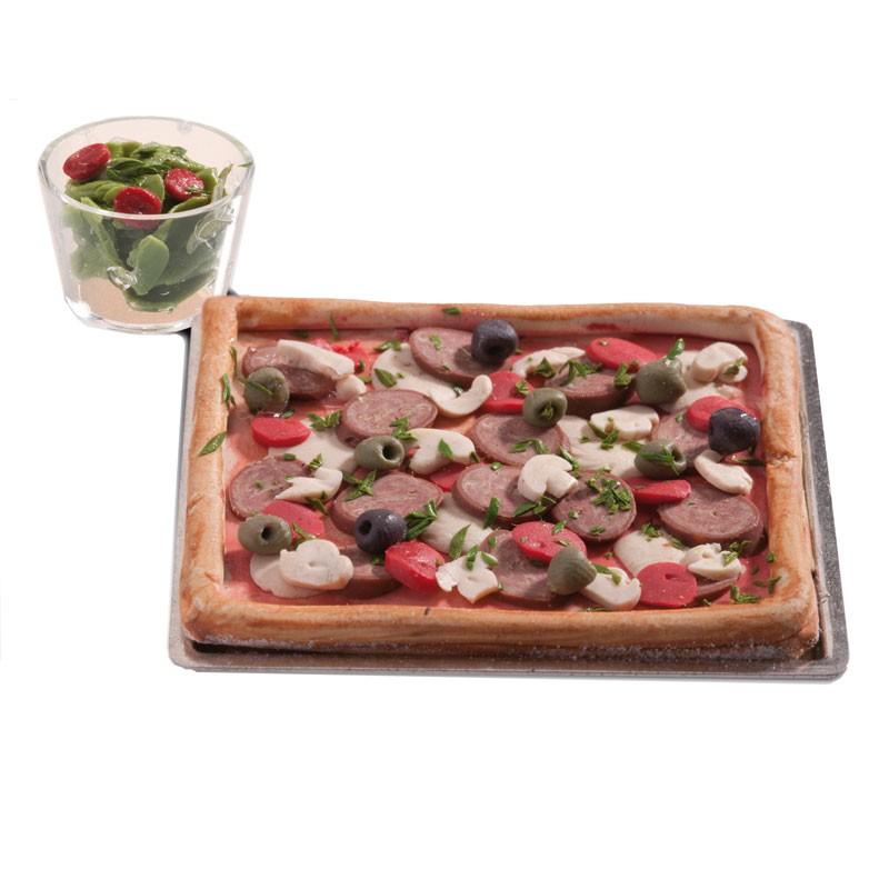 Puppenhaus Zubeh?r Tapeten : Bodo Hennig Puppenhaus Miniatur Pizza und gr?ner Salat