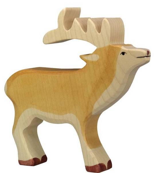 Holztiger Holzfigur Hirsch