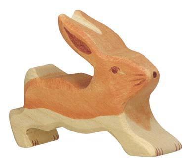 Holztiger Holzfigur Hase klein, laufend