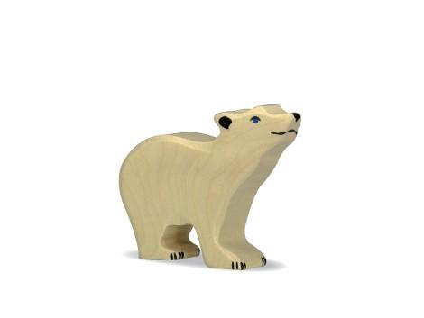 Holztiger Holzfigur Eisbär, klein Kopf hoch