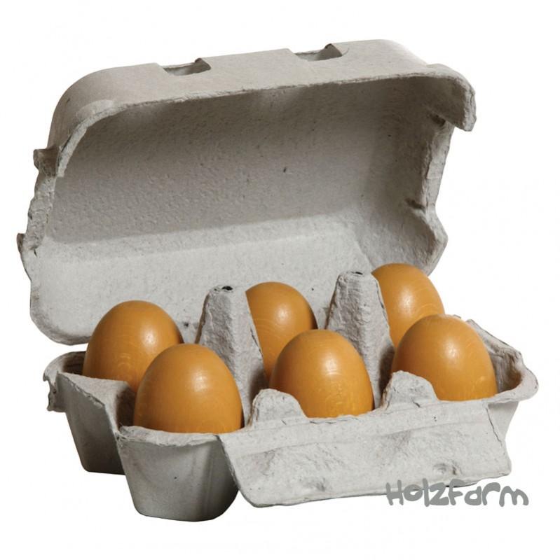 Kaufmannsladenzubehör Eier braun, 6er Pack