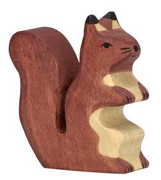 Holztiger Holzfigur Eichhörnchen braun