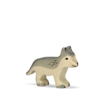 Holztiger Holzfigur Wolf klein