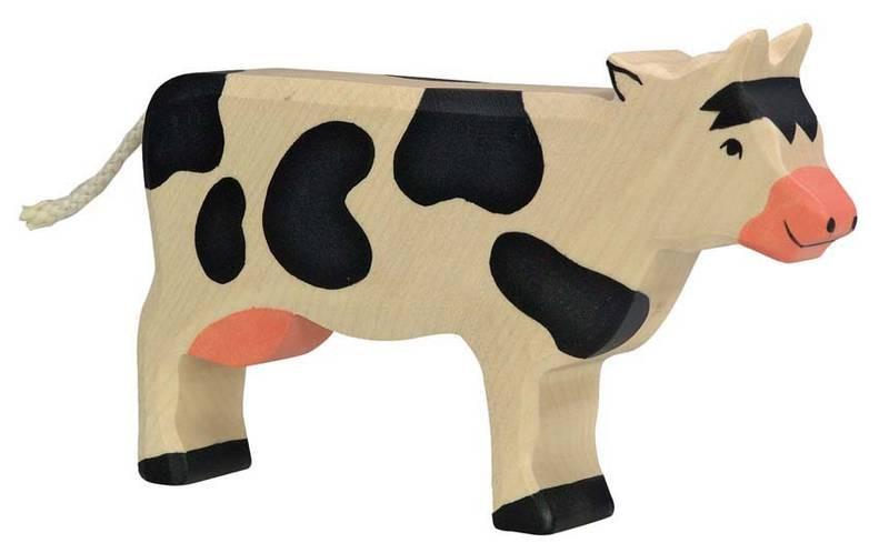 Holztiger Holzfigur Kuh schwarz